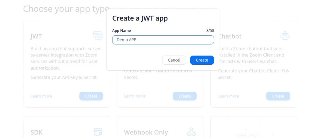 zoom api build develop jwt name screen