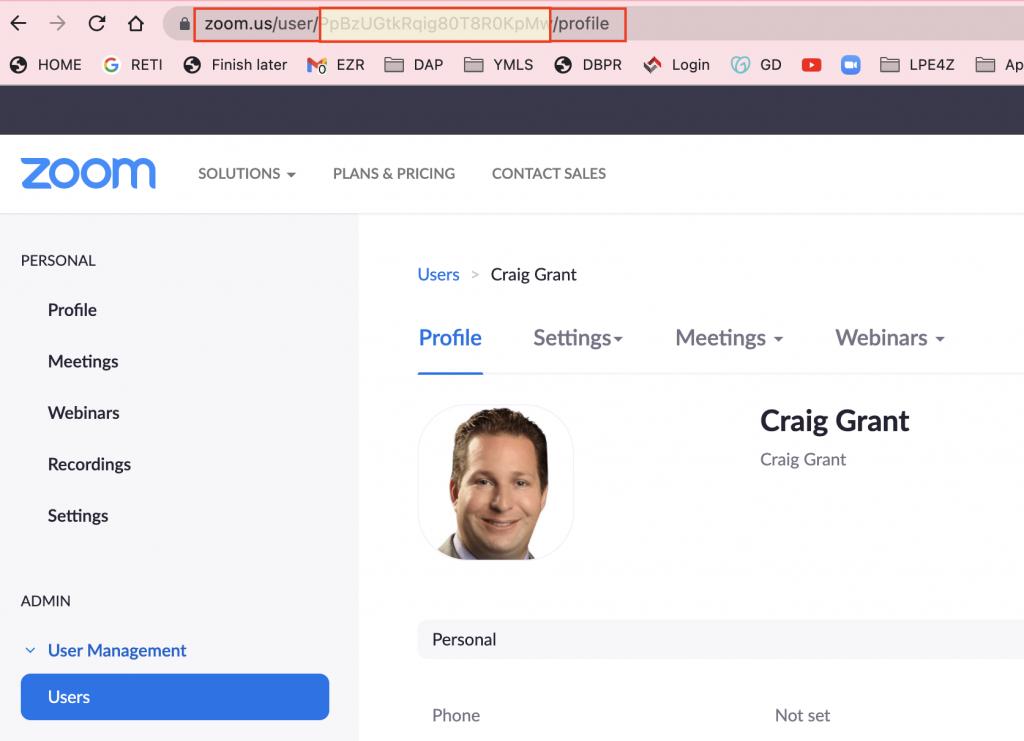 Zoom User Profile Edit Screen
